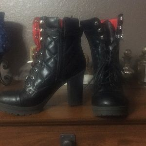G by Guess Black quilted high heeled boots